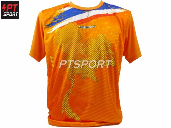 เสื้อกีฬาคอกลม รุ่น MD908 สีส้ม