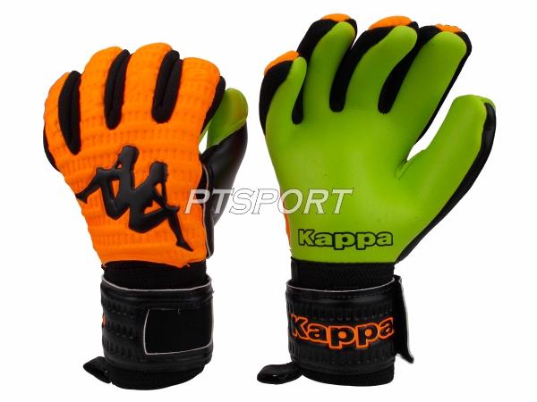 ถุงมือผู้รักษาประตู ถุงมือโกลว์ KAPPA GV-1511 มีFINGER SAVE สีส้มเขียว