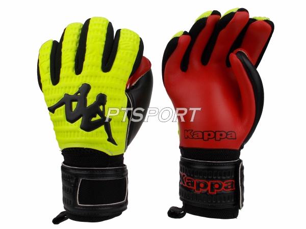 ถุงมือผู้รักษาประตู ถุงมือโกลว์ KAPPA GV-1511 มีFINGER SAVE สีเหลืองแดง