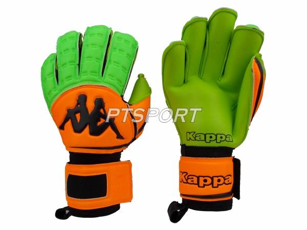 ถุงมือผู้รักษาประตู ถุงมือโกลว์ KAPPA GV-1512 มี FINGER SAVE สีส้มเขียว