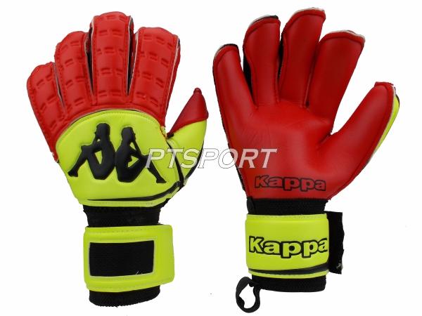 ถุงมือผู้รักษาประตู ถุงมือโกลว์ KAPPA GV-1512 มี FINGER SAVE สีเหลืองแดง