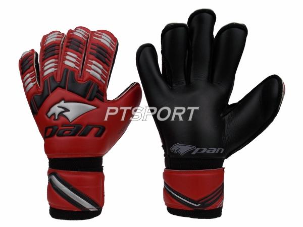 ถุงมือผู้รักษาประตู ถุงมือโกลว์ PAN PV-1542 มี FINGER SAVE สีแดงดำ