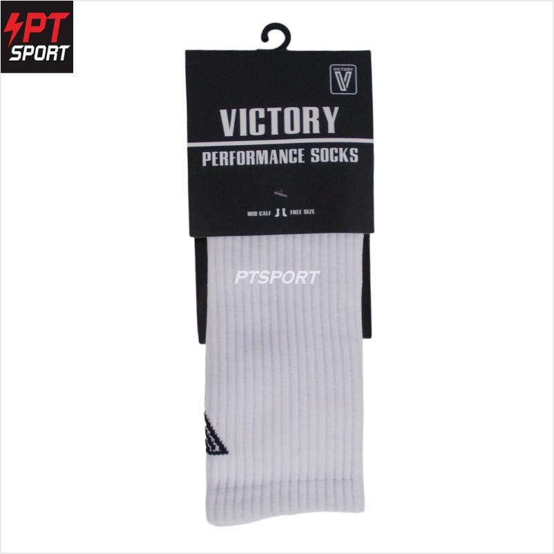 ถุงเท้ากีฬา ถุงเท้าฟุตบอลครึ่งแข้ง VICTORY V094 FREE SIZE ขาว