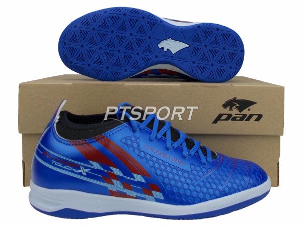 รองเท้ากีฬา รองเท้าฟุตซอลหุ้มข้อเด็ก PAN PF-14Y5 BALANCER TOUCH X II JR ELVALOY SHOES สีน้ำเงินแดง