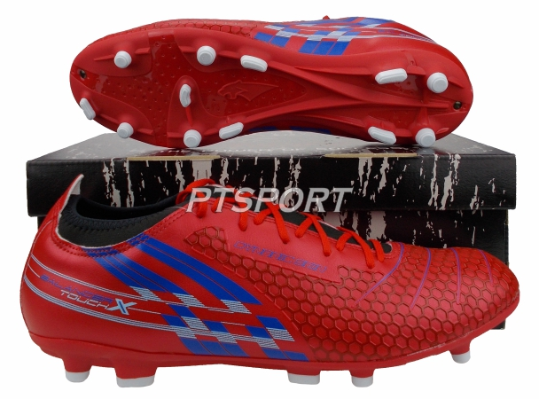 รองเท้ากีฬา รองเท้าสตั๊ดหุ้มข้อ PAN PF-15AR BALANCER TOUCH X II ELVALOY SHOES สีแดงน้ำเงิน