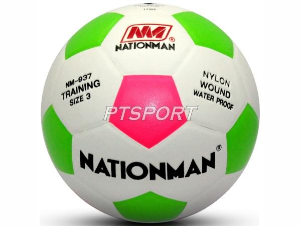 ลูกฟุตบอล หนังอัด สลับสี Nationman 937 เบอร์ 3 ขาวเขียวชมพู