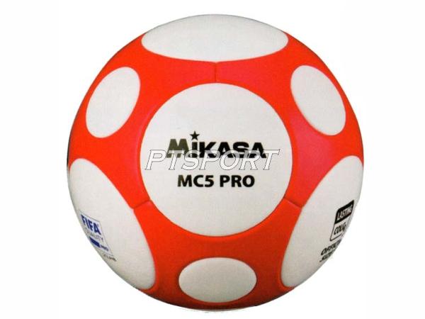 ลูกฟุตบอลหนังอัด Football มิกาซ่า MIKASA MCL5V ขาวส้ม