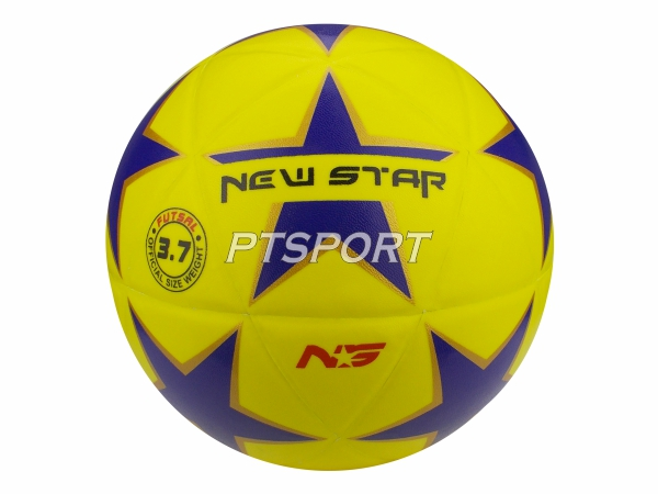 ลูกฟุตซอลหนังอัด NEW STAR FBT ลายดาว ไซส์ 3.7 สีเหลือง