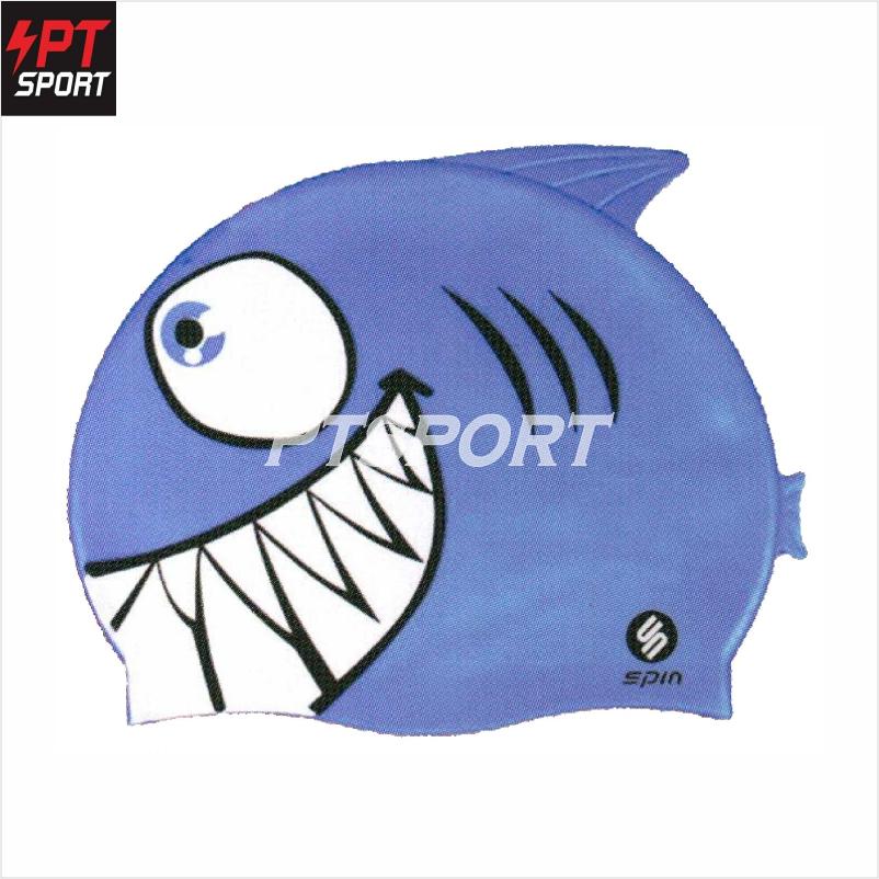 หมวกว่ายน้ำซิลิโคนเด็ก SPIN KC001 สีฟ้า