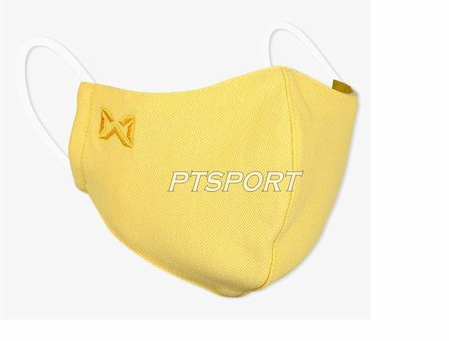Warrix หน้ากากผ้าปิดจมูก รุ่นแผ่นกรอง ซักได้ MASK ผ้าปิดปาก แมสผ้า สีเหลือง